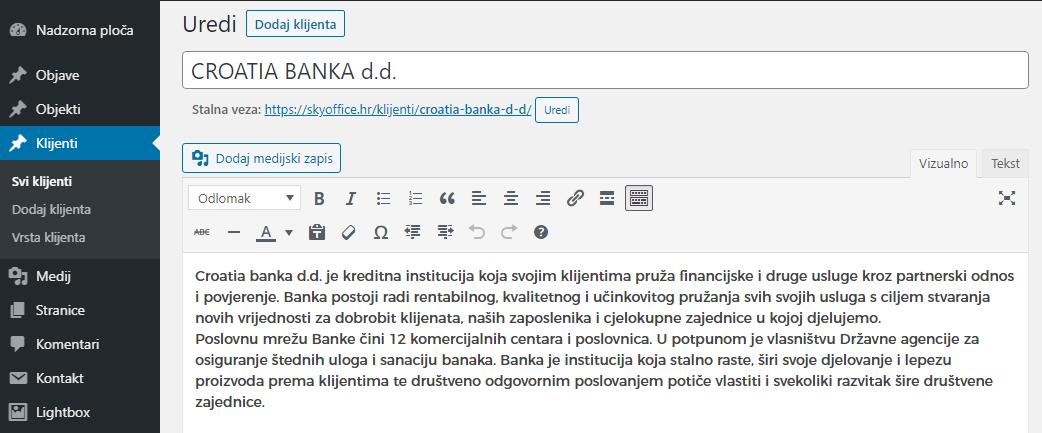 Editing a client page - descriptive text